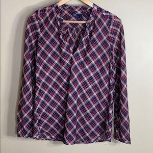 Gap v neck plaid long sleeve blouse